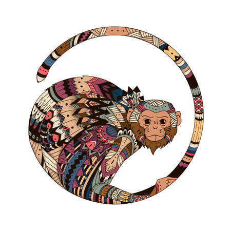 tribales: Ilustraci�n brillante de color de un mono en 2016. Bosquejo de tatuaje, tribal Tatem, amuleto, un s�mbolo de un mono.