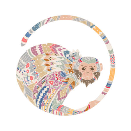 illustration of a monkey, a symbol of New Year 2016. head of an animal, with ethnic motifs. Sketch of tattoo print on a T-shirt or a greeting card. Illustration