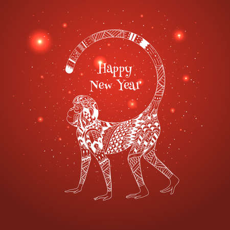 Vector illustration of a red background for the new year. Illustration Oriental style monkey tribe