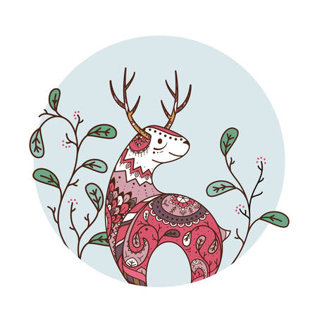 cool colors: Vector illustration of a reindeer with ornaments and flowers to print. Beautiful cool colors. Deer in the circle totem Illustration