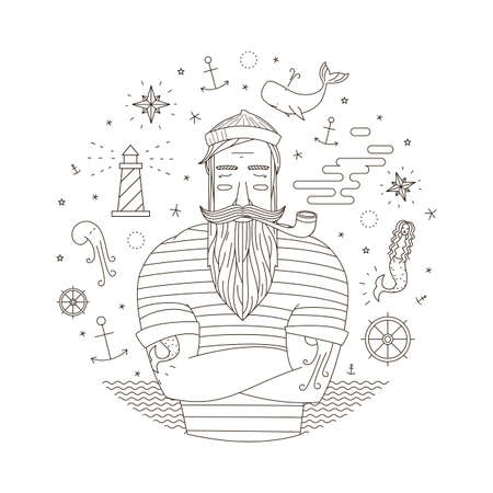 Black and white illustration of a sailor in the style of an old tattoo. Print seaman with a pipe. Anchor illustrations, mermaid with moyakom