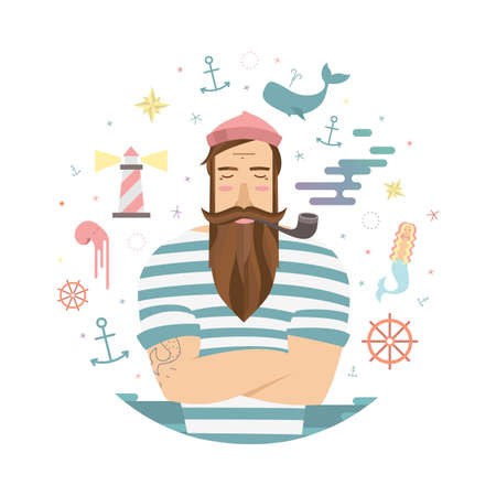 A vivid illustration of fairy tales sailor. Vector sailor with a pipe and anchors and mermaid for prints