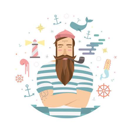 marinero: Una ilustración vívida de los cuentos de hadas de marinero. Vector marinero con un tubo y anclas y sirena para impresiones
