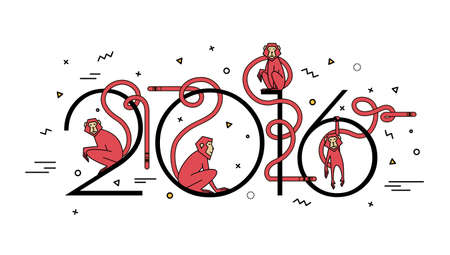 lunar new year: Illustration of numbers in 2016 and 4 monkeys in a linear style. Modern design, simple line. Fire obezyanyna white background for the new year. Illustration