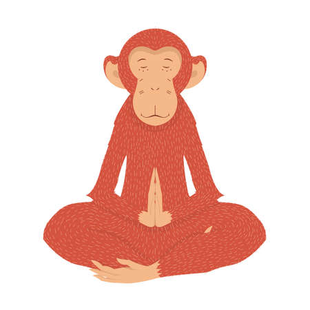 Red Monkey in the lotus position in quiet meditation. illustration on a postcard