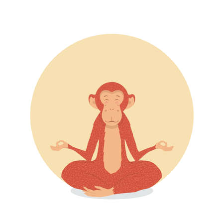 tranquility: Red Monkey in the lotus position on a sun background. Meditation and tranquility of spirit of equality. Peace and joy to print on fabric or card. Illustration
