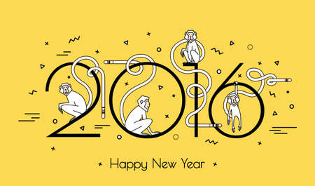 simple: Illustration for the new year 2016 with monkeys. Style simple lines of modern hipster. A vivid illustration for a card or print. Illustration