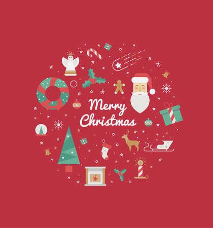 muerdago: tarjeta de felicitaci�n con elementos de la Navidad en un c�rculo sobre un fondo rojo. 2016 Ilustraci�n de la Navidad de una corona, su abuelo marozi, mu�rdago, copos de nieve, el regalo para impresi�n. Vectores
