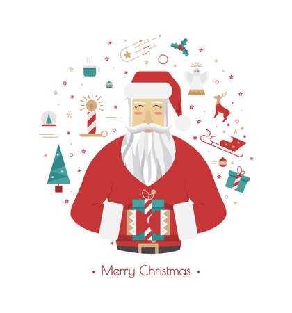 advent wreath: Illustration with Santa Claus on a white background. Circle with Christmas ellementami style flat. Christmas cards 2016