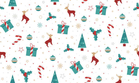 christmas wallpaper: Christmas seamless pattern style flat on a white background. Bright New Year patern for wrapping paper, print, cover design, fabric. Illustration