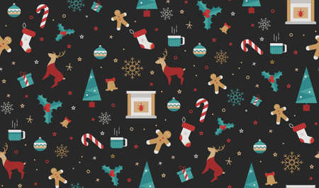 Christmas seamless pattern style flat on a black background. Bright  New Year patern for wrapping paper, print, cover design, fabric.