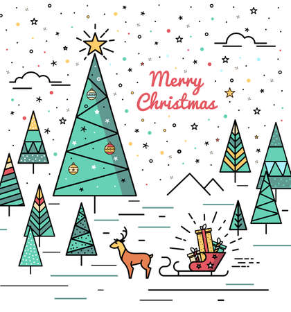 christmas hats: Christmas Forest Postcard with a Christmas tree and reindeer sleigh gifts. Stock Vector Christmas in the style of fine lines and hipster. Bright print or poster Illustration