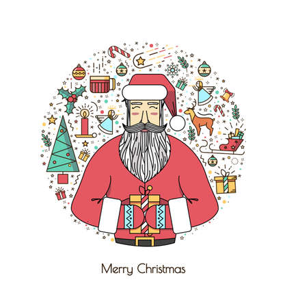 angel white: Santa Claus with presents and christmas elements in a circle, a thin line. A vivid illustration of the new year 2016. A beautiful print or invitation.