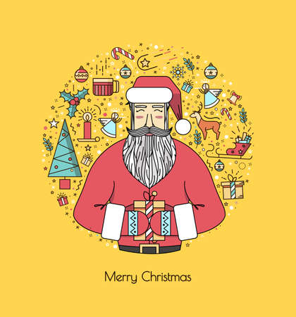 advent wreath: Santa Claus with presents and christmas elements in a circle, a thin line. Bright yellow illustration for the new year 2016. A beautiful print or invitation. Illustration