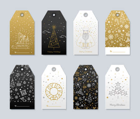 Set of New Year and Christmas labels for gifts. Luxury gold color and black with presents and snow for the congratulations.