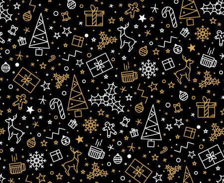 Black and gold festive seamless pattern for gift wrapping or cards for Christmas. Easy style in one line, hipster style.