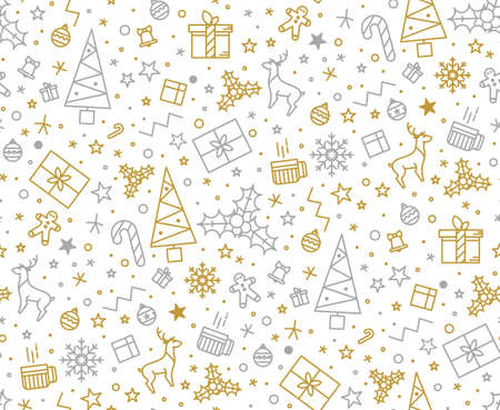 Seamless pattern for Christmas on a white background with gold elements Christmas. Beautiful pattern for a luxurious gift wrapping paper, t-shirts, greeting cards 2016 Фото со стока - 49849831
