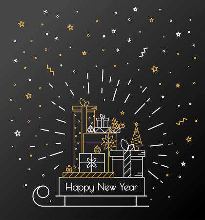 black: Christmas card for 2016 sleigh with gifts. Retro style thin line. Luxury background with gold and silver on a black background Illustration