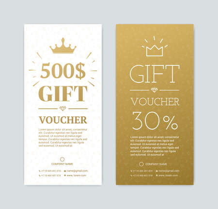 Gift voucher for shopping in the store. Gold card for a gift for the holidays. Exclusive certificate for a gift. Illustration