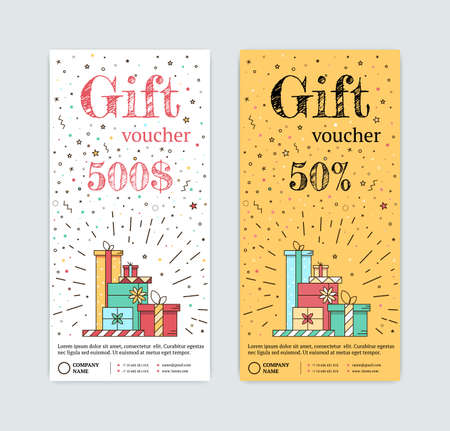 Gift Voucher template bright modern. Sil thin line. Yellow gift card Фото со стока - 49849866