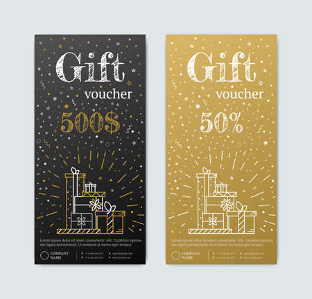 voucher: Gift Voucher in gold. Gold and black banner. Gold Card text with elements of stars candy. Gift voucher for shopping in magazinet vip, exclusive. Discount coupon or certificate