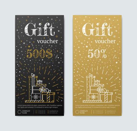 gift in celebration of a birth: Vale de regalo en oro. Oro y negro de la bandera. Texto de la carta de oro con elementos de las estrellas de caramelo. vale de regalo para hacer compras en Magazinet vip, exclusivo. cupón de descuento o certificado