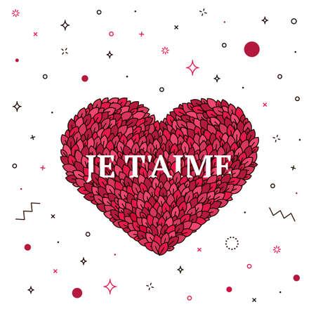 Día De San Valentín, Tarjeta De Felicitación Te Amo. Ilustración De ...