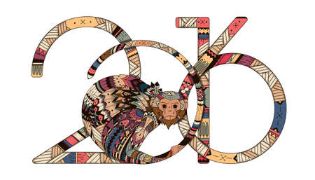 monkey: Tribal illustration of a monkey in the style zentangl for the new year 2016. illustration of Totem for the holidays. Printing Maite, card, poster Illustration