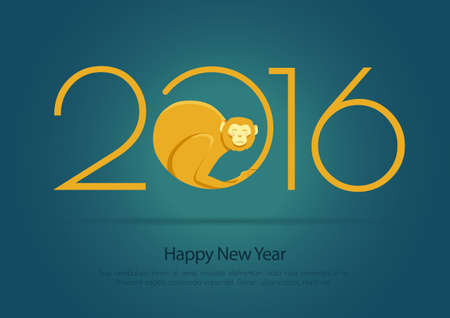 marmoset: Postcard blue for the new year with the fire monkey and 2016. A bright illustration for postrera or printing.