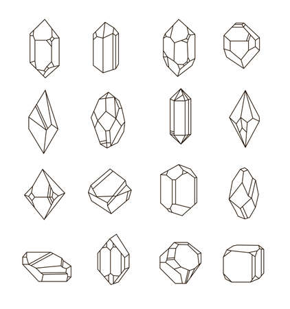 landfills: Set of non-linear crystals. Minerals from landfills for fabric, poster, t-shirts.