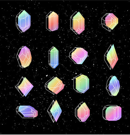 Set space crystals for T-shirts on a black background. Hipster style fabric. Petrol color in memphis