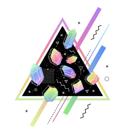arrière plan noir et blanc: Espace Triangle avec des cristaux à l'intérieur de la couleur de l'essence. le style memphis pour la composition hipsters.Geometry construction, tissus, T-shirts, cartes de voeux, 80. Illustration