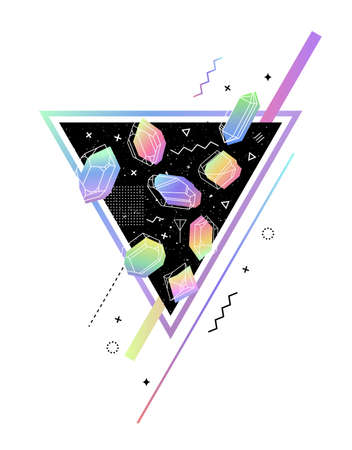 geometry: Space Triangle with crystals inside petrol color. memphis style for hipster. Geometry composition build, fabrics, T-shirts, greeting cards Illustration