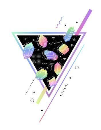 geometra: Triángulo del espacio con cristales de color dentro de gasolina. Memphis estilo de última moda. Composición de la geometría de construcción, tejidos, camisetas, tarjetas de felicitación