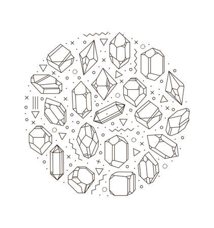 illustration of crystals in a circle. Geometric composition poster hipster. Print for T-shirts, oloring for kids, card, cloth.