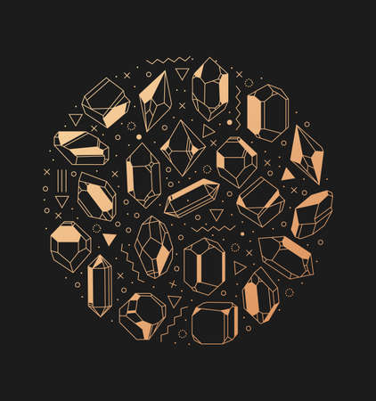 illustration of golden crystals in a circle. Geometric composition poster hipster. Jewel and primealnost.