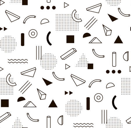 pattern with black and white geometric shapes. Hipster fashion Memphis style.