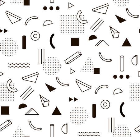 moda: teste padrão com formas geométricas em preto e branco. Memphis estilo fashion Hipster.