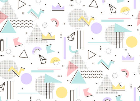 Gentle light pattern of geometric shapes Memphis style. Mint and pink triangles, hipster style to build. Фото со стока - 53392565