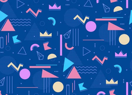 Cheerful geometric pattern on a blue background Memphis style. Common elements in the art of the composition for youth 80.