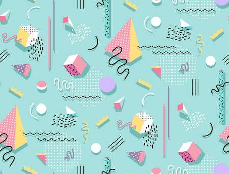 Memphis Muster von geometrischen Formen für Gewebe und Postkarten. Hipster Plakat, saftig, helle Farbe Hintergrund.