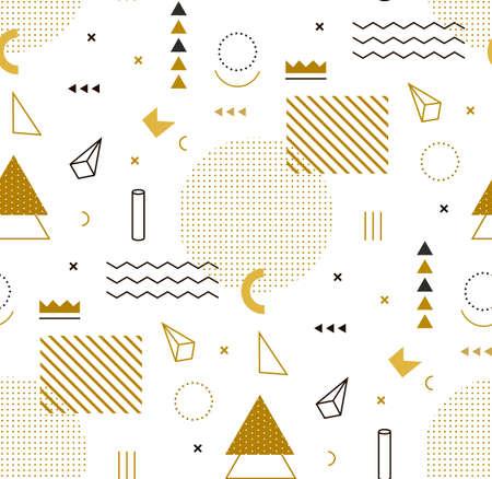 stil: Geometrische Goldmuster für Mode und Tapeten. Memphis-Stil für Mode.