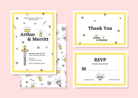 holiday invitation: Wedding set for holiday cards. Hipster style, invitation, thank you, rsvp. Modern invitation for a holiday. Illustration