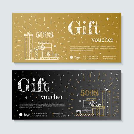 navidad elegante: Oro y negro bono. Texto de la carta de oro con elementos de las estrellas de caramelo. vale de regalo para ir de compras en la tienda VIP, exclusivo. Vale de regalo en oro. cupón de descuento o certificado