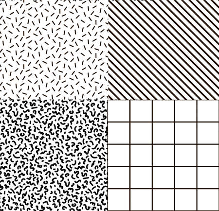 nineties: Black and white set memphis fabric, postcards, backgrounds. Hipster background Print Illustration