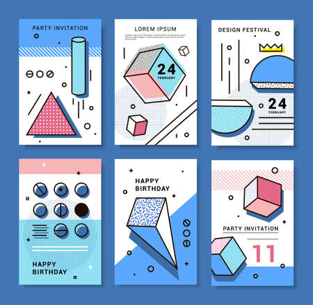 A set of cards with geometric elements Memphis. Bright composition hipster party, festival, birthday card. Illustration
