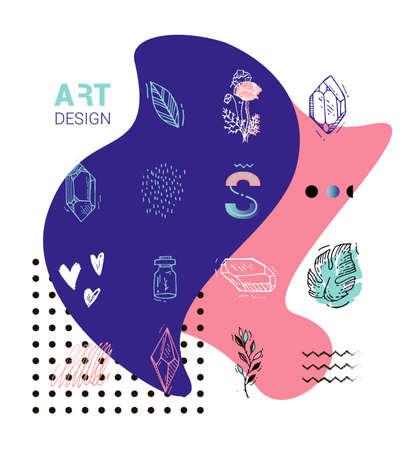 coeur diamant: Carte avec palme Hipster pour affiches. Dessin éléments, cristaux, diamants, coeur. Art pour la couverture.