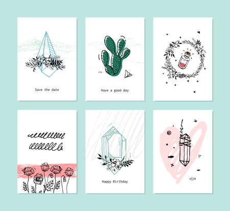 A set of cards for a holiday in hipster style. The print on the bag, or a T-shirt with crystals itsvetami, bright illustration of the trend. Illustration