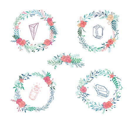 peach: Vector set of flowers in a circle with crystals. Hipster style, delicate flowers sdedano hands.