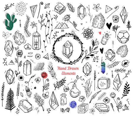 palm wreath: Set of elements for the cover of decoration, books, cards, prints, flyers, invitation. Flowers, plants, crystals pendant hipster style. The elements are drawn by hand on a white background Illustration